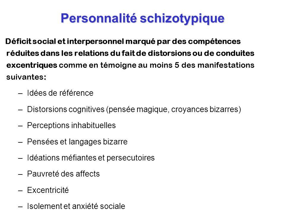 Personnalité schizotypique : Déficit social et interpersonnel marqué par des compétences réduites dans les relations du fait de distorsions ou de cond