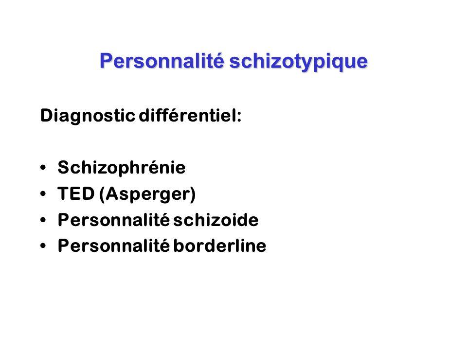 Personnalité schizotypique Diagnostic différentiel: Schizophrénie TED (Asperger) Personnalité schizoide Personnalité borderline