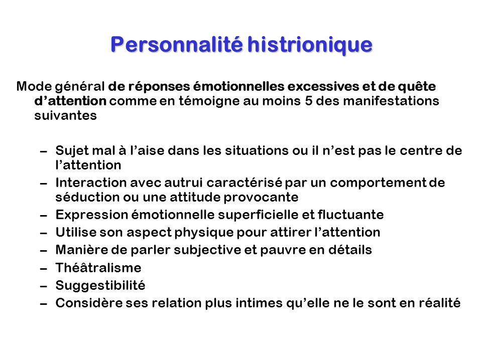 Personnalité histrionique Mode général de réponses émotionnelles excessives et de quête dattention comme en témoigne au moins 5 des manifestations sui