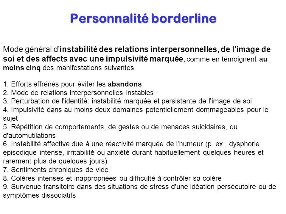 Personnalité borderline Mode général d'instabilité des relations interpersonnelles, de l'image de soi et des affects avec une impulsivité marquée, com
