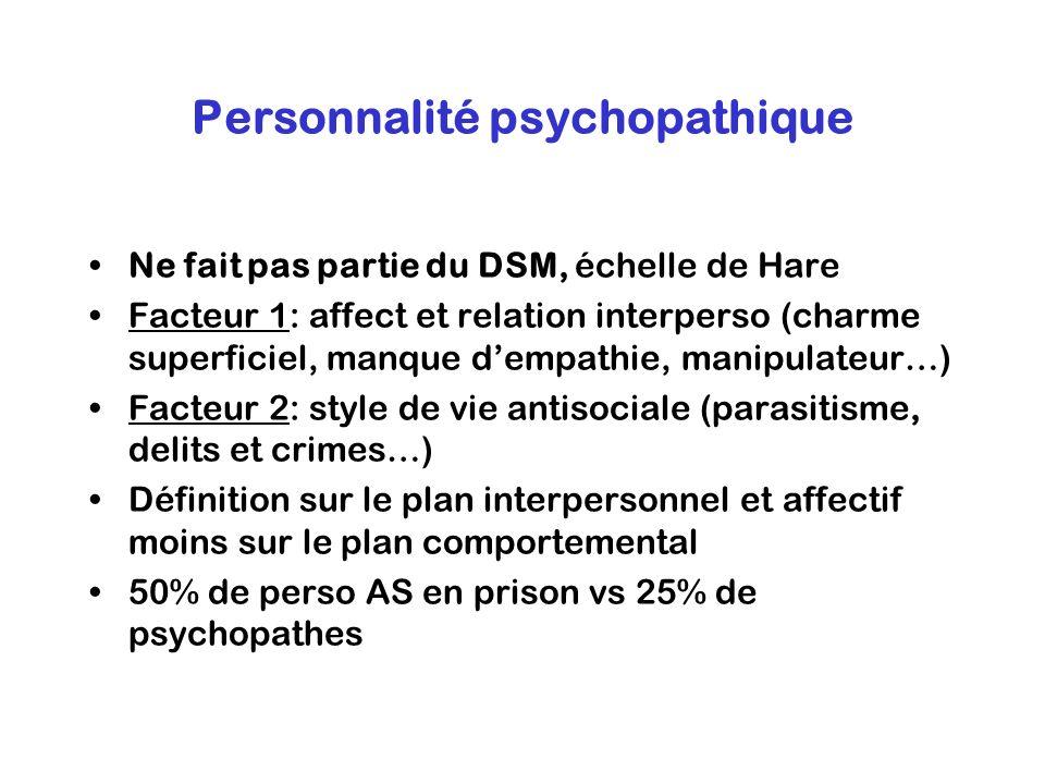 Personnalité psychopathique Ne fait pas partie du DSM, échelle de Hare Facteur 1: affect et relation interperso (charme superficiel, manque dempathie,