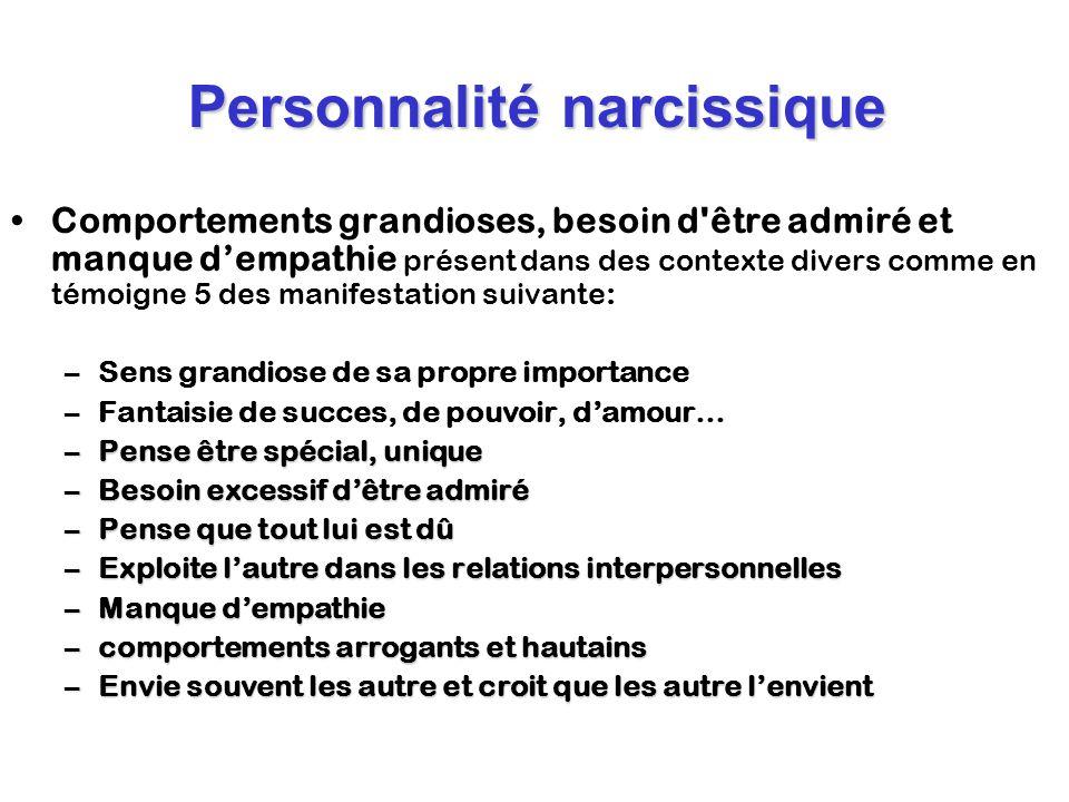 Personnalité narcissique Comportements grandioses, besoin d'être admiré et manque dempathie présent dans des contexte divers comme en témoigne 5 des m
