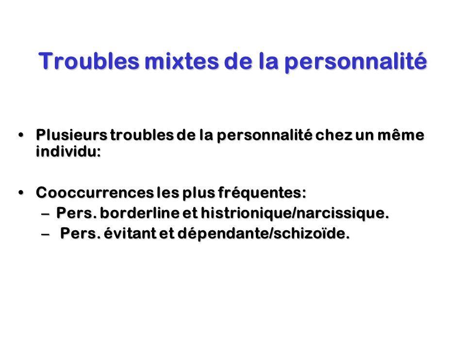 Troubles mixtes de la personnalité Plusieurs troubles de la personnalité chez un même individu:Plusieurs troubles de la personnalité chez un même indi