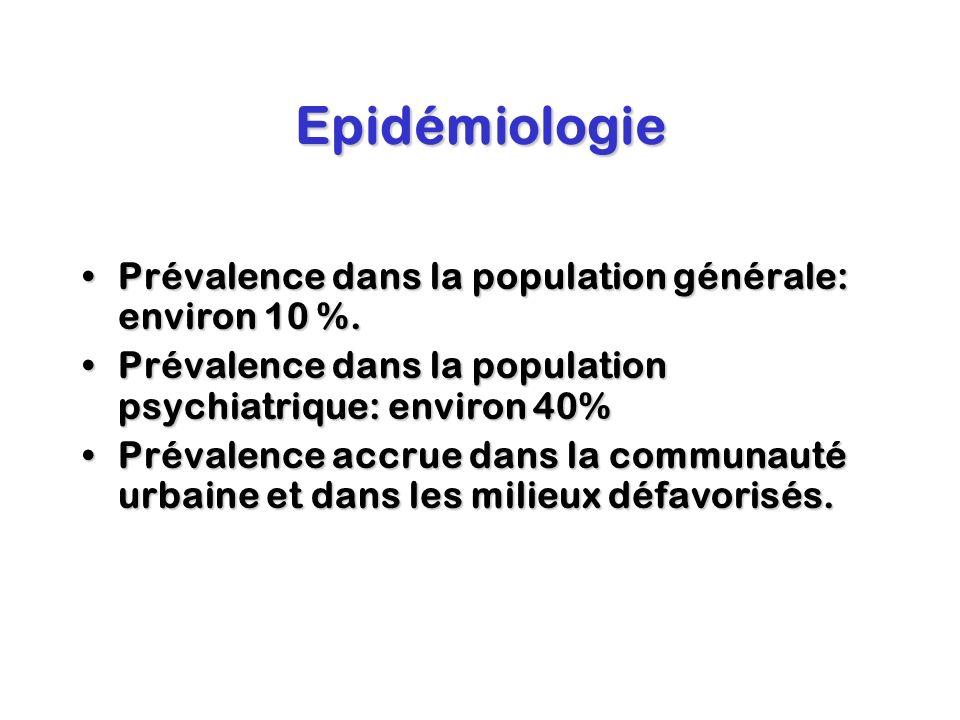 Epidémiologie Prévalence dans la population générale: environ 10 %.Prévalence dans la population générale: environ 10 %. Prévalence dans la population