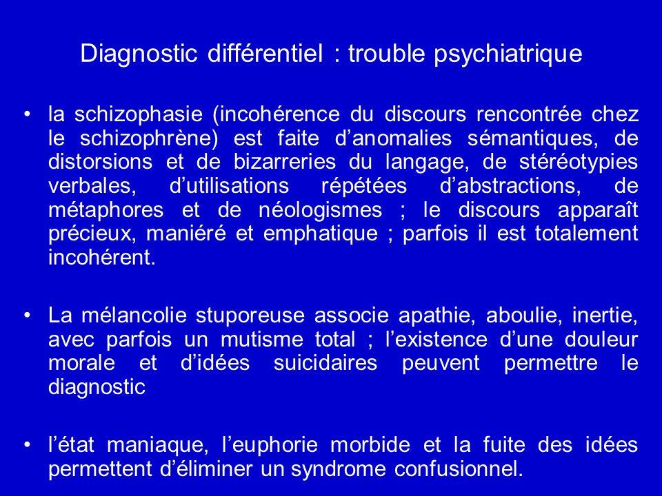 Diagnostic différentiel : trouble psychiatrique la schizophasie (incohérence du discours rencontrée chez le schizophrène) est faite danomalies sémantiques, de distorsions et de bizarreries du langage, de stéréotypies verbales, dutilisations répétées dabstractions, de métaphores et de néologismes ; le discours apparaît précieux, maniéré et emphatique ; parfois il est totalement incohérent.