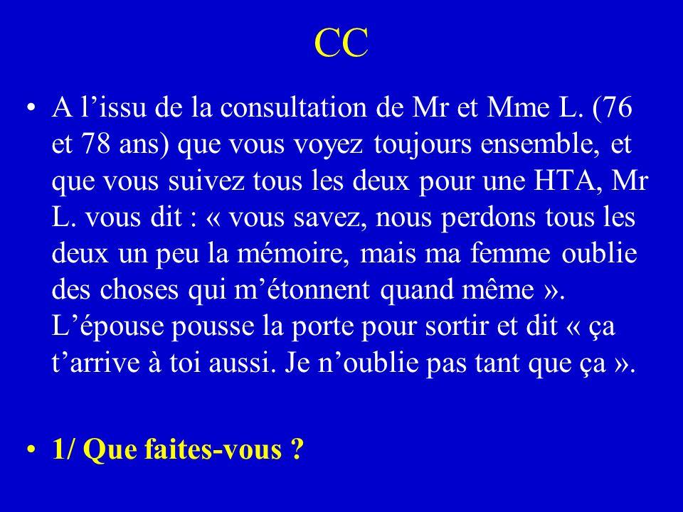 CC A lissu de la consultation de Mr et Mme L. (76 et 78 ans) que vous voyez toujours ensemble, et que vous suivez tous les deux pour une HTA, Mr L. vo