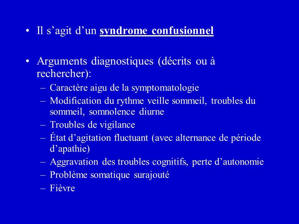 Il sagit dun syndrome confusionnel Arguments diagnostiques (décrits ou à rechercher): –Caractère aigu de la symptomatologie –Modification du rythme ve
