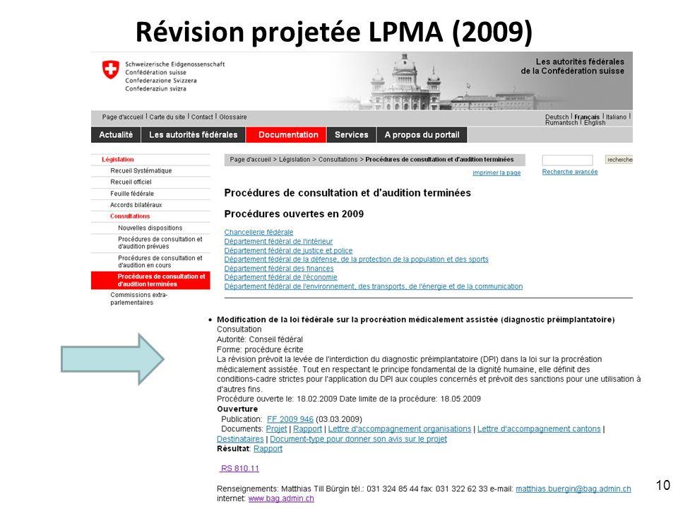 Révision projetée LPMA (2009) RNT - Prof. Junod - Leçon 7 (2.4.2012) 10