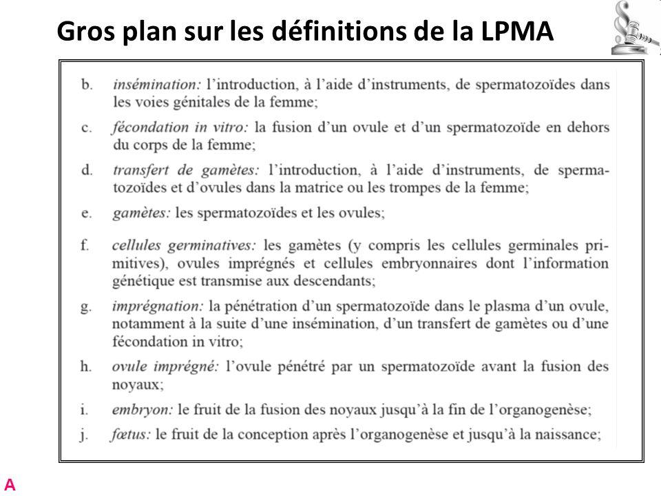 Gros plan sur les définitions de la LPMA A