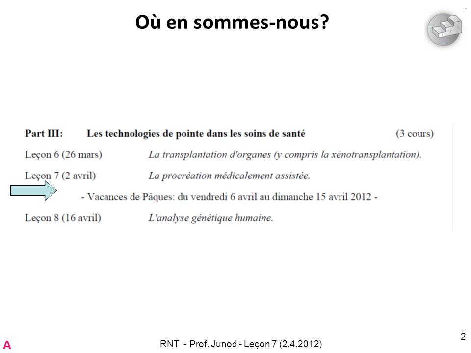 RNT - Prof. Junod - Leçon 7 (2.4.2012) 2 Où en sommes-nous? A