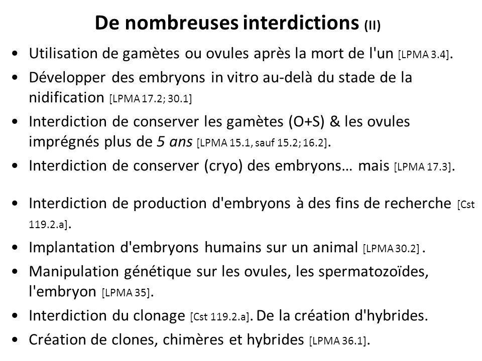 De nombreuses interdictions (II) Utilisation de gamètes ou ovules après la mort de l'un [LPMA 3.4]. Développer des embryons in vitro au-delà du stade