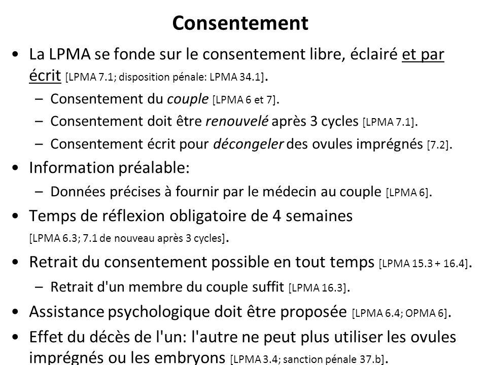 Consentement RNT - Prof. Junod - Leçon 7 (2.4.2012) 41 La LPMA se fonde sur le consentement libre, éclairé et par écrit [LPMA 7.1; disposition pénale: