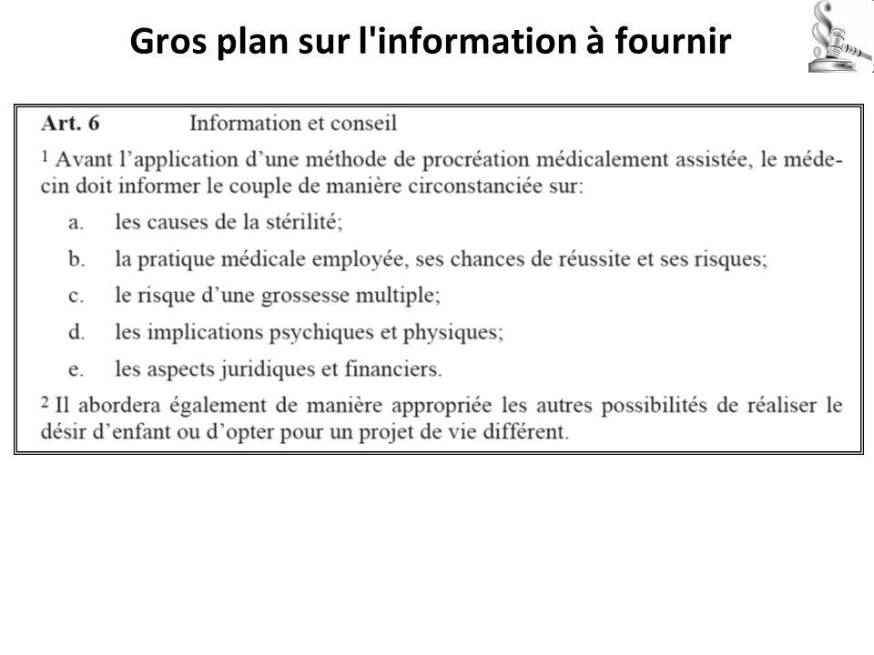 Gros plan sur l'information à fournir