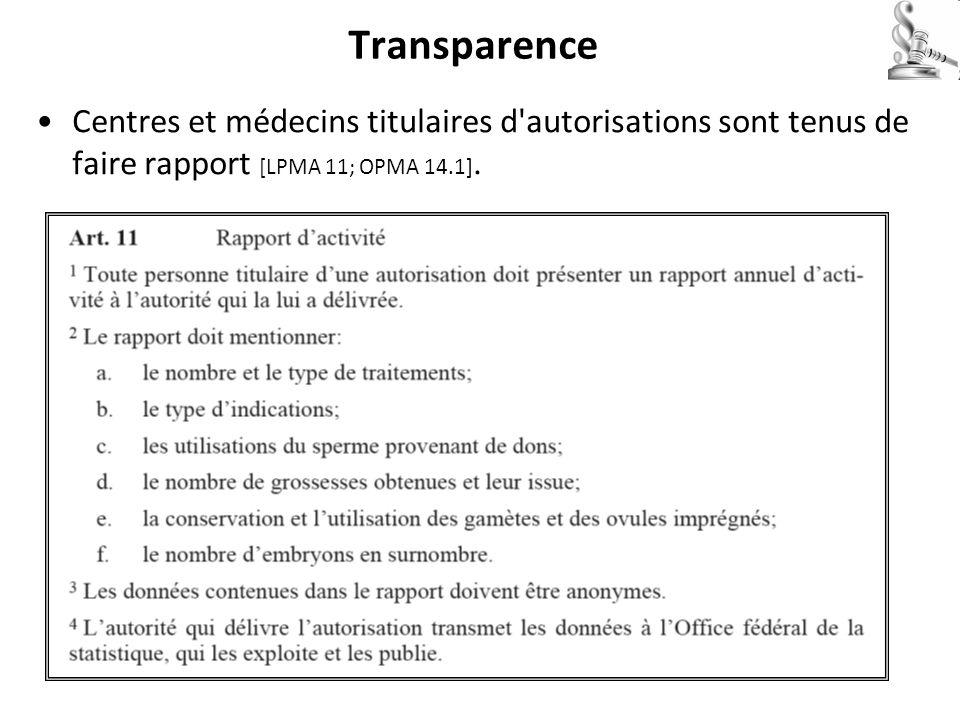Transparence Centres et médecins titulaires d'autorisations sont tenus de faire rapport [LPMA 11; OPMA 14.1].