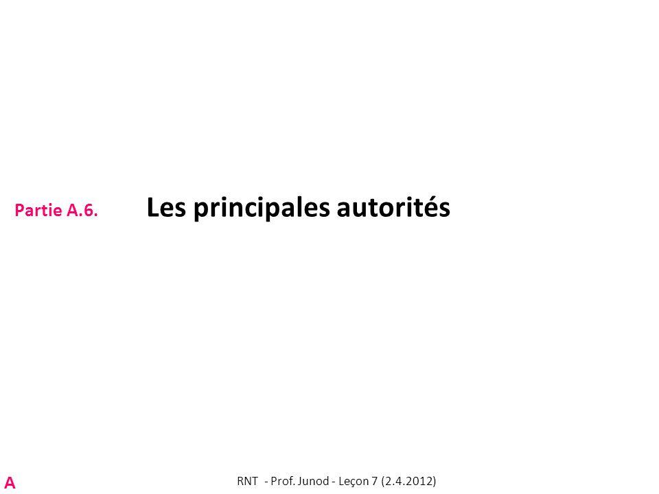 Partie A.6. Les principales autorités RNT - Prof. Junod - Leçon 7 (2.4.2012) A