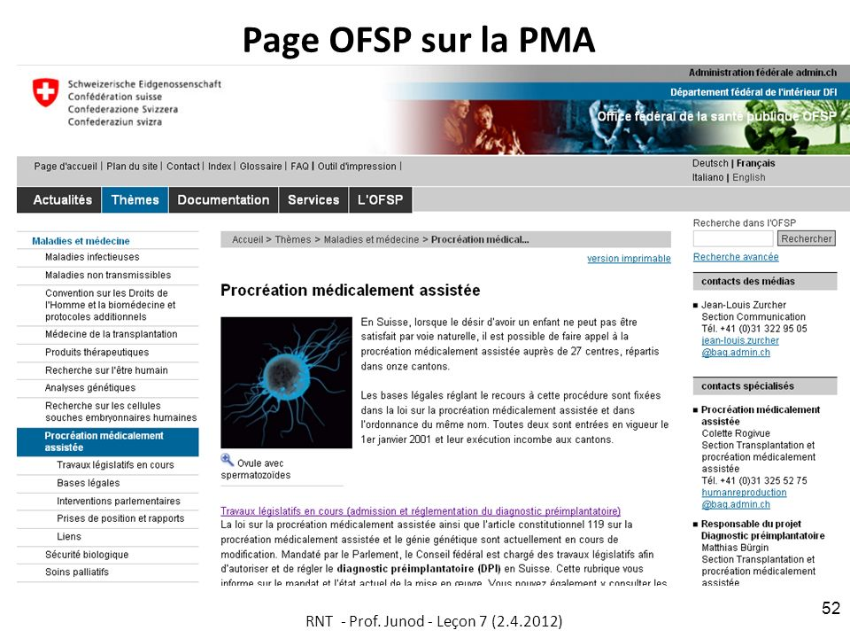 Page OFSP sur la PMA RNT - Prof. Junod - Leçon 7 (2.4.2012) 52