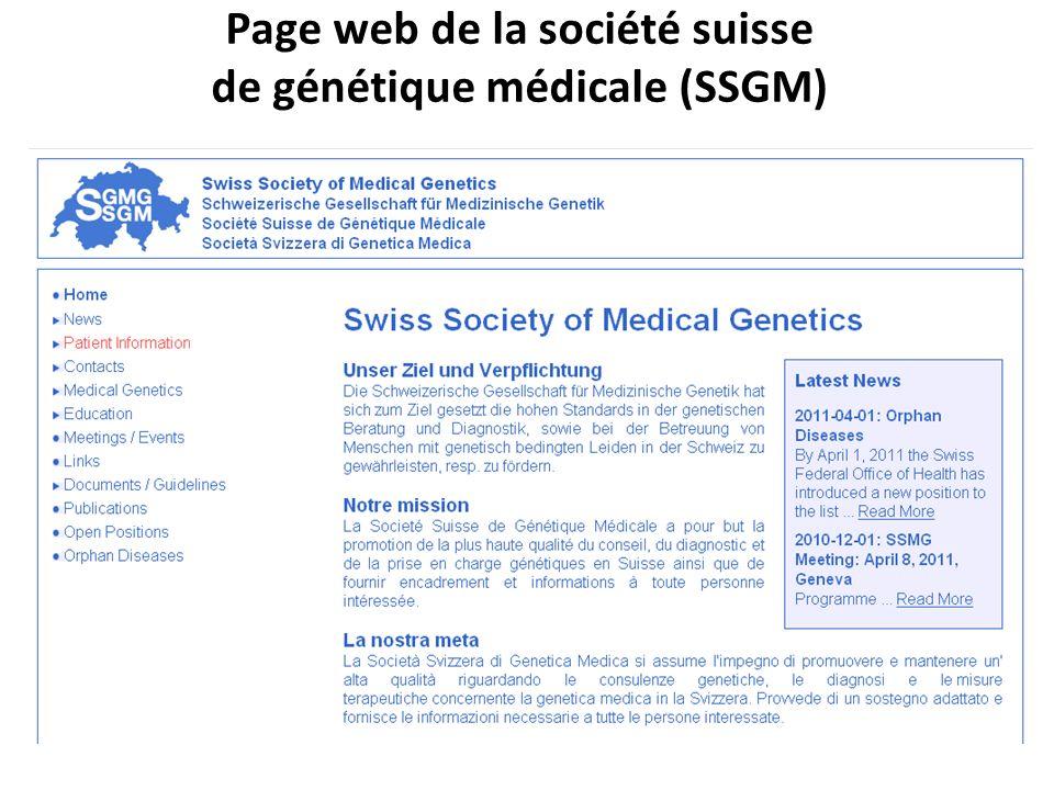 Page web de la société suisse de génétique médicale (SSGM)