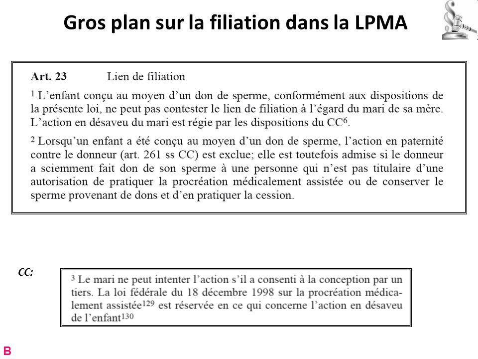 Gros plan sur la filiation dans la LPMA B CC: