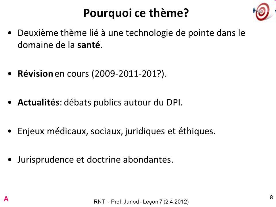 RNT - Prof. Junod - Leçon 7 (2.4.2012) 8 Pourquoi ce thème? Deuxième thème lié à une technologie de pointe dans le domaine de la santé. Révision en co