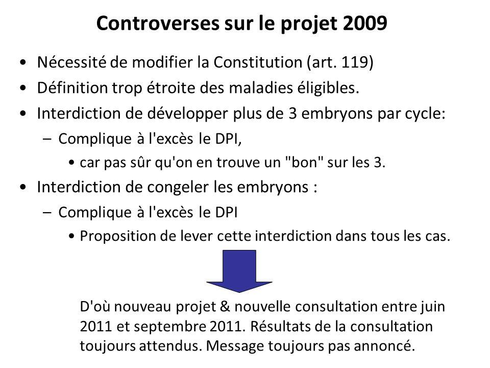 Controverses sur le projet 2009 Nécessité de modifier la Constitution (art. 119) Définition trop étroite des maladies éligibles. Interdiction de dével