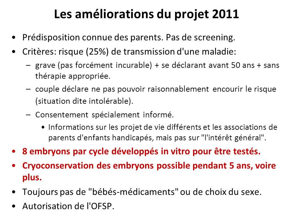 Les améliorations du projet 2011 Prédisposition connue des parents. Pas de screening. Critères: risque (25%) de transmission d'une maladie: –grave (pa