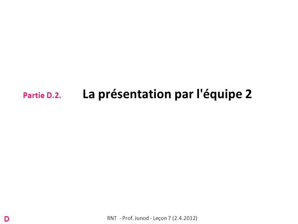 Partie D.2. La présentation par l'équipe 2 RNT - Prof. Junod - Leçon 7 (2.4.2012) D