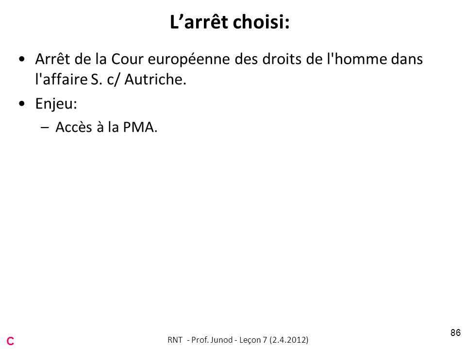 Larrêt choisi: Arrêt de la Cour européenne des droits de l'homme dans l'affaire S. c/ Autriche. Enjeu: –Accès à la PMA. RNT - Prof. Junod - Leçon 7 (2