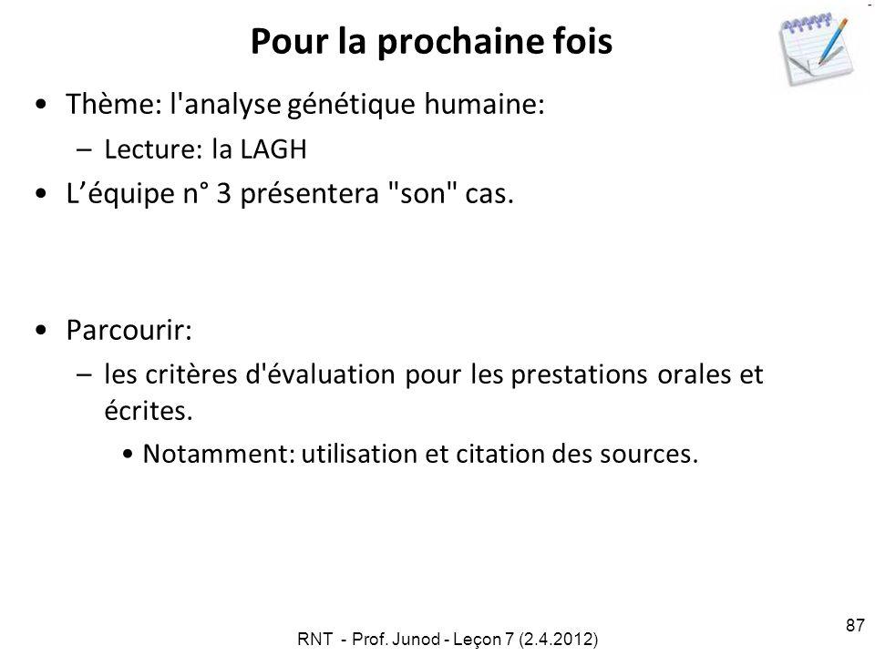 RNT - Prof. Junod - Leçon 7 (2.4.2012) 87 Pour la prochaine fois Thème: l'analyse génétique humaine: –Lecture: la LAGH Léquipe n° 3 présentera