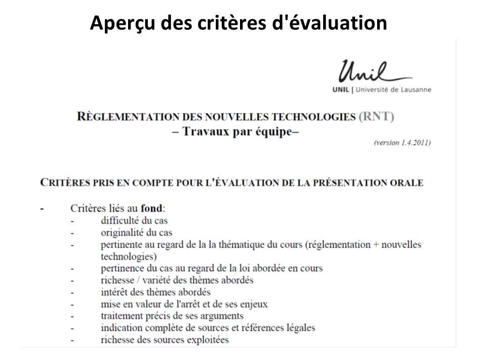 Aperçu des critères d'évaluation