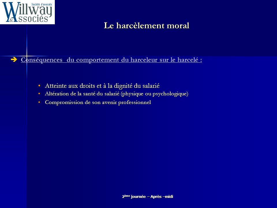 2 ème journée – Après –midi Le harcèlement moral Atteinte aux droits et à la dignité du salarié Cf.