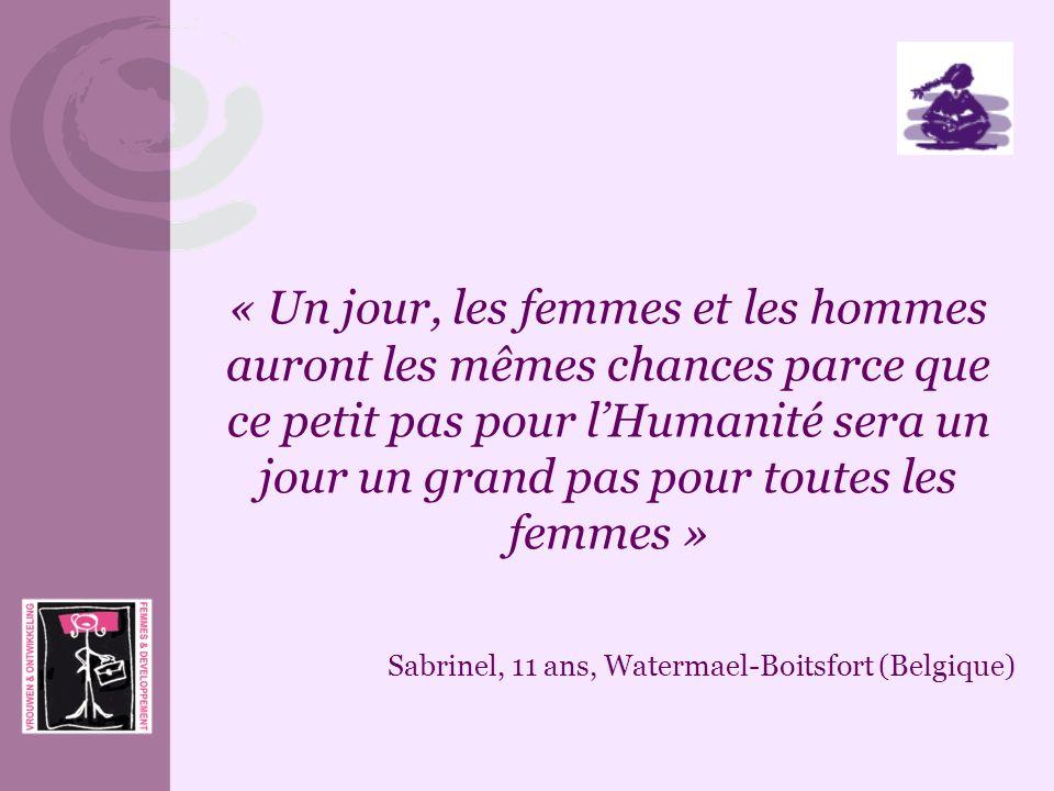 « Un jour, les femmes et les hommes auront les mêmes chances parce que ce petit pas pour lHumanité sera un jour un grand pas pour toutes les femmes »