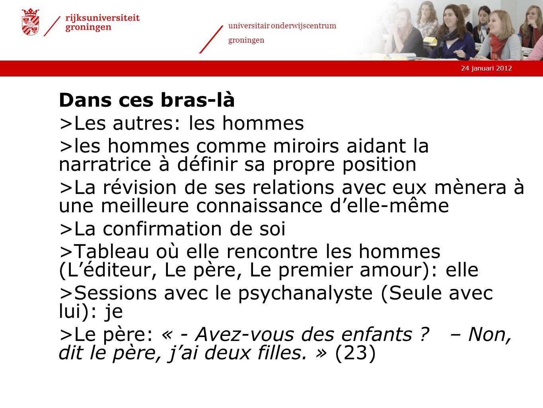 24 januari 2012 universitair onderwijscentrum groningen Dans ces bras-là >Les autres: les hommes >les hommes comme miroirs aidant la narratrice à défi