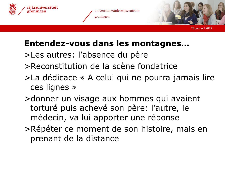 24 januari 2012 universitair onderwijscentrum groningen Entendez-vous dans les montagnes… >Les autres: labsence du père >Reconstitution de la scène fo