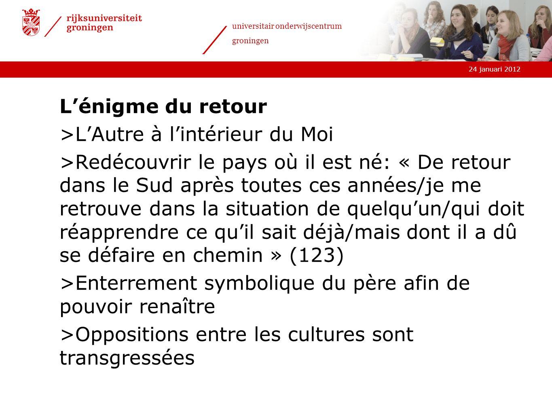 24 januari 2012 universitair onderwijscentrum groningen Lénigme du retour >LAutre à lintérieur du Moi >Redécouvrir le pays où il est né: « De retour d