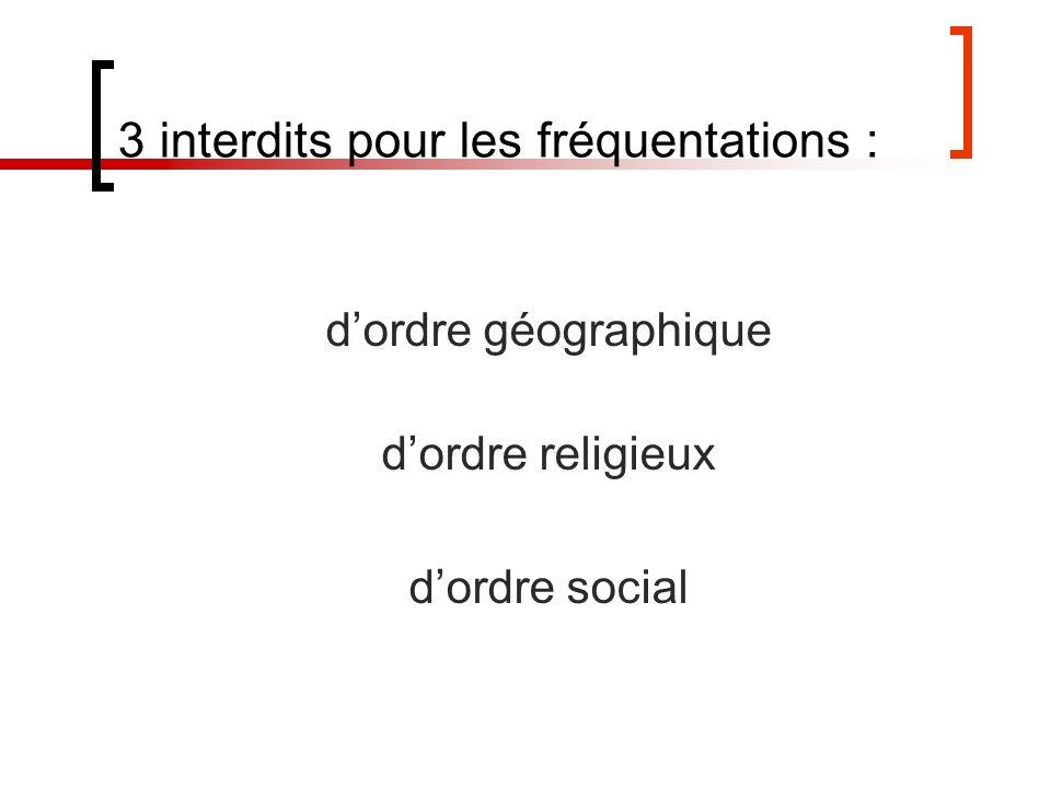 3 interdits pour les fréquentations : dordre géographique dordre religieux dordre social
