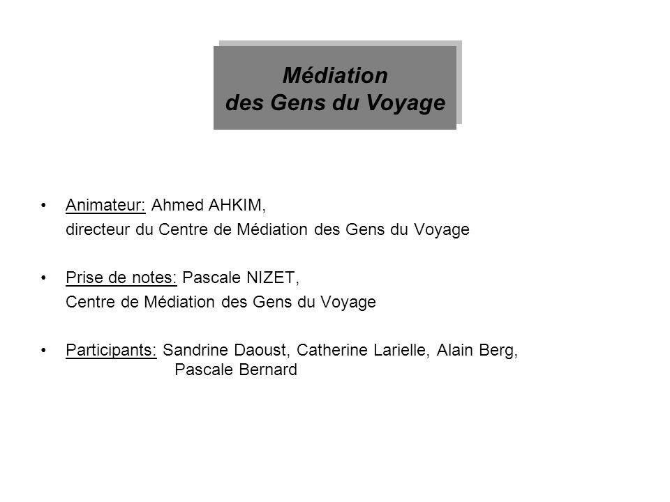 Animateur: Ahmed AHKIM, directeur du Centre de Médiation des Gens du Voyage Prise de notes: Pascale NIZET, Centre de Médiation des Gens du Voyage Part