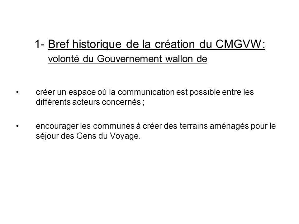 1- Bref historique de la création du CMGVW: créer un espace où la communication est possible entre les différents acteurs concernés ; encourager les c