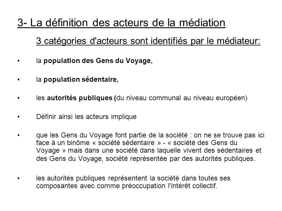 3 catégories d'acteurs sont identifiés par le médiateur: la population des Gens du Voyage, la population sédentaire, les autorités publiques (du nivea