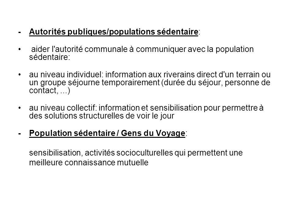 - Autorités publiques/populations sédentaire: aider l'autorité communale à communiquer avec la population sédentaire: au niveau individuel: informatio