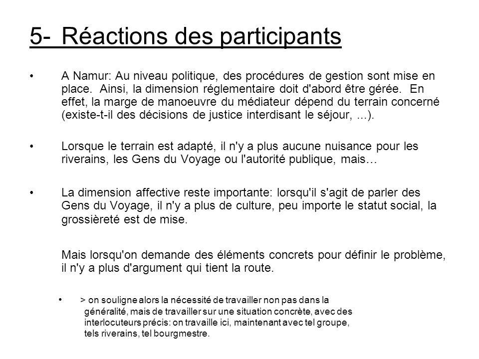 5-Réactions des participants A Namur: Au niveau politique, des procédures de gestion sont mise en place. Ainsi, la dimension réglementaire doit d'abor