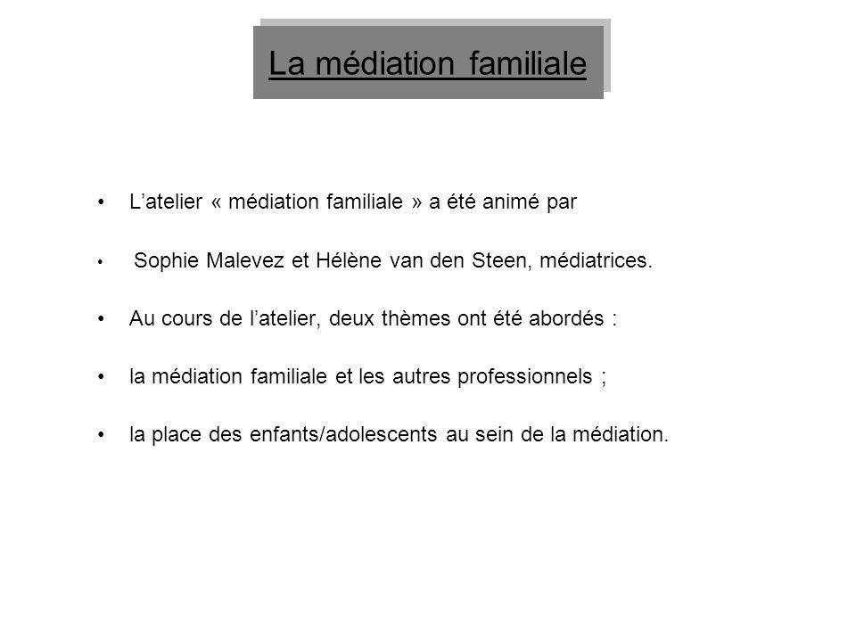 Latelier « médiation familiale » a été animé par Sophie Malevez et Hélène van den Steen, médiatrices. Au cours de latelier, deux thèmes ont été abordé