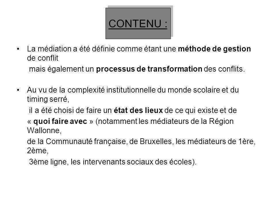 La médiation a été définie comme étant une méthode de gestion de conflit mais également un processus de transformation des conflits. Au vu de la compl