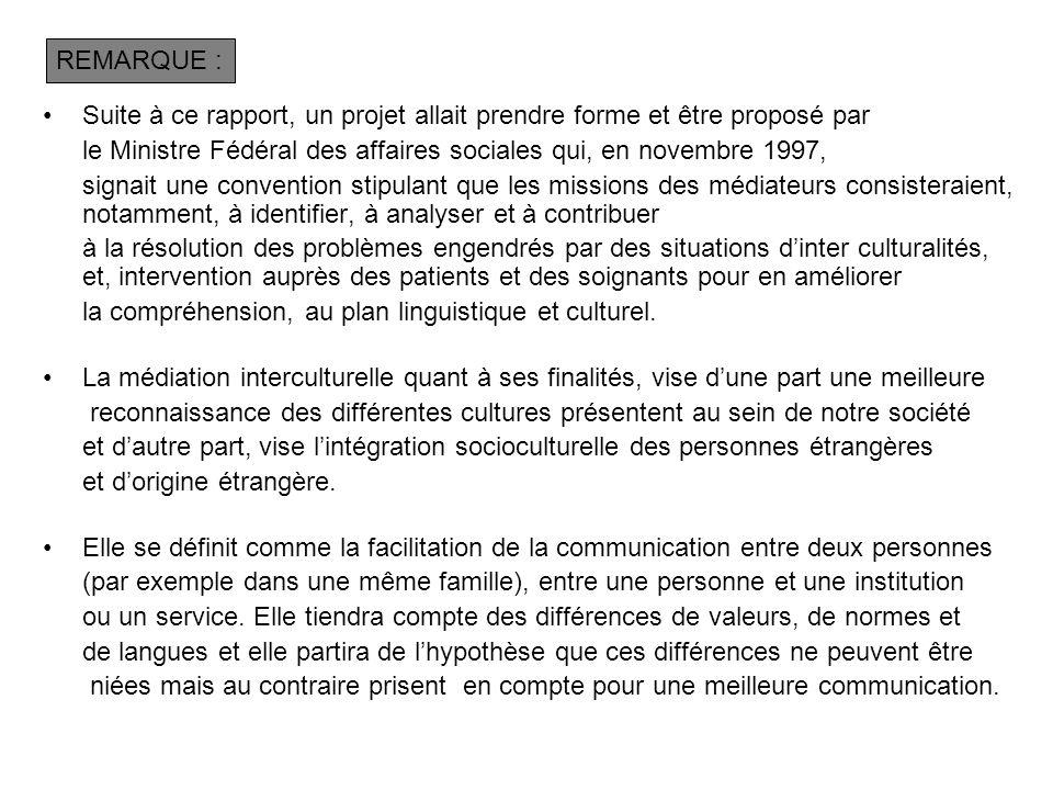 Suite à ce rapport, un projet allait prendre forme et être proposé par le Ministre Fédéral des affaires sociales qui, en novembre 1997, signait une co