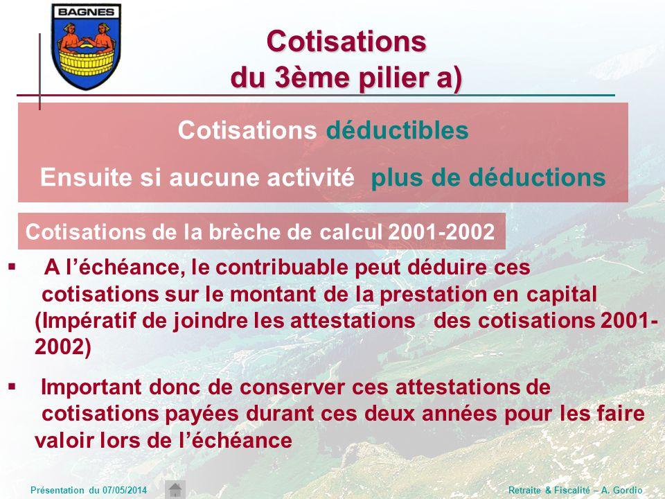 Présentation du 07/05/2014Retraite & Fiscalité – A. Gordio Cotisations du 3ème pilier a) A léchéance, le contribuable peut déduire ces cotisations sur