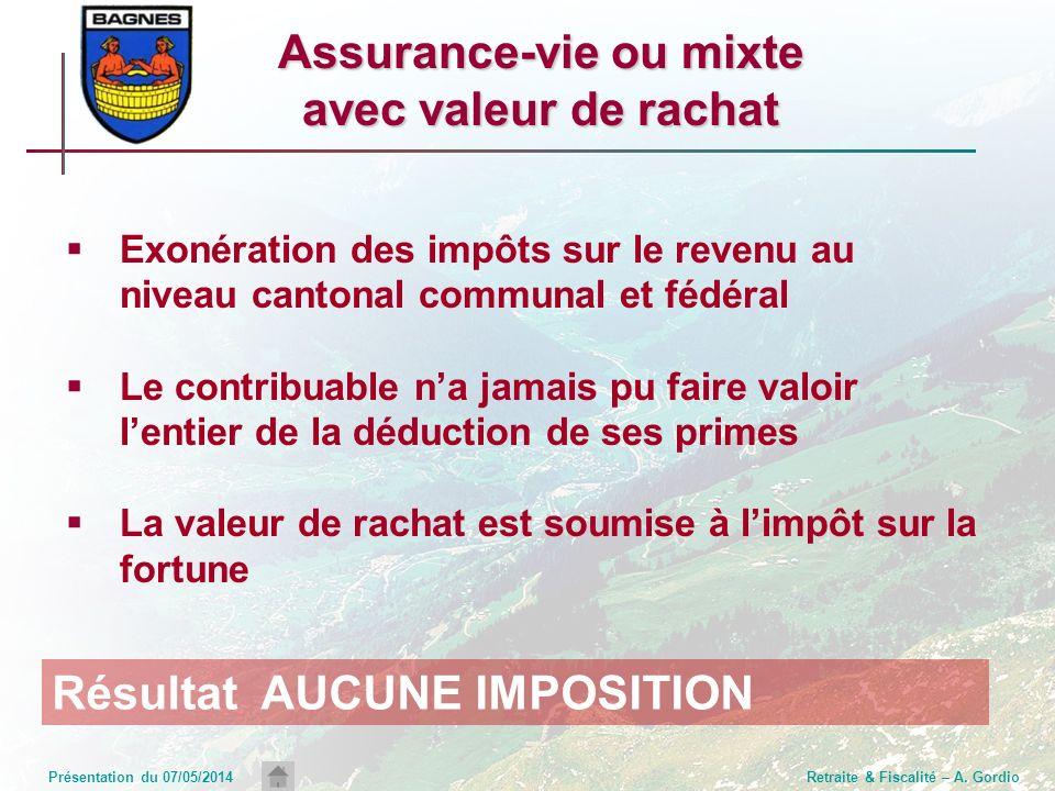 Présentation du 07/05/2014Retraite & Fiscalité – A. Gordio Assurance-vie ou mixte avec valeur de rachat Exonération des impôts sur le revenu au niveau