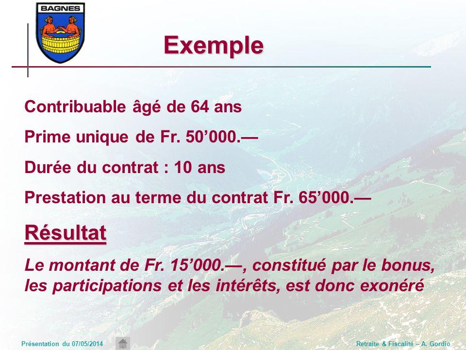 Présentation du 07/05/2014Retraite & Fiscalité – A. Gordio Exemple Contribuable âgé de 64 ans Prime unique de Fr. 50000. Durée du contrat : 10 ans Pre