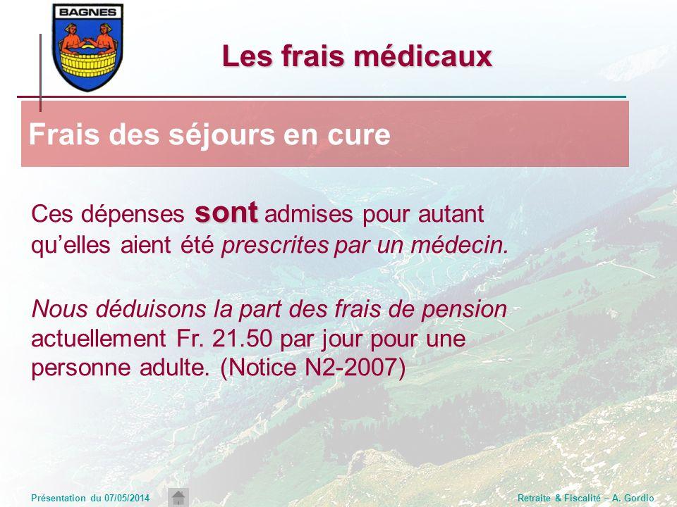 Présentation du 07/05/2014Retraite & Fiscalité – A. Gordio Les frais médicaux sont Ces dépenses sont admises pour autant quelles aient été prescrites