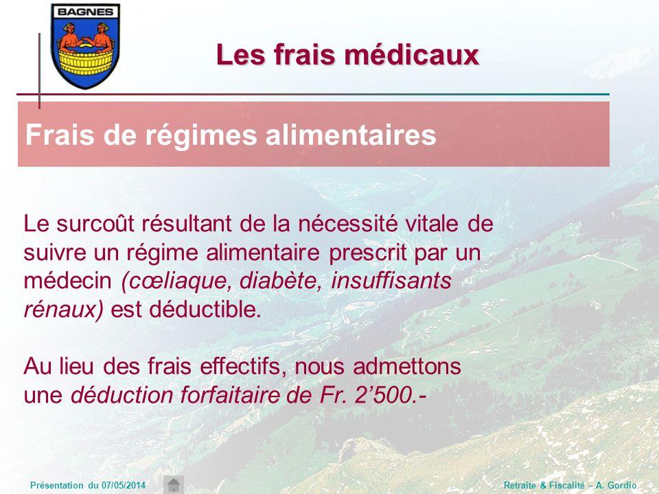 Présentation du 07/05/2014Retraite & Fiscalité – A. Gordio Les frais médicaux Le surcoût résultant de la nécessité vitale de suivre un régime alimenta