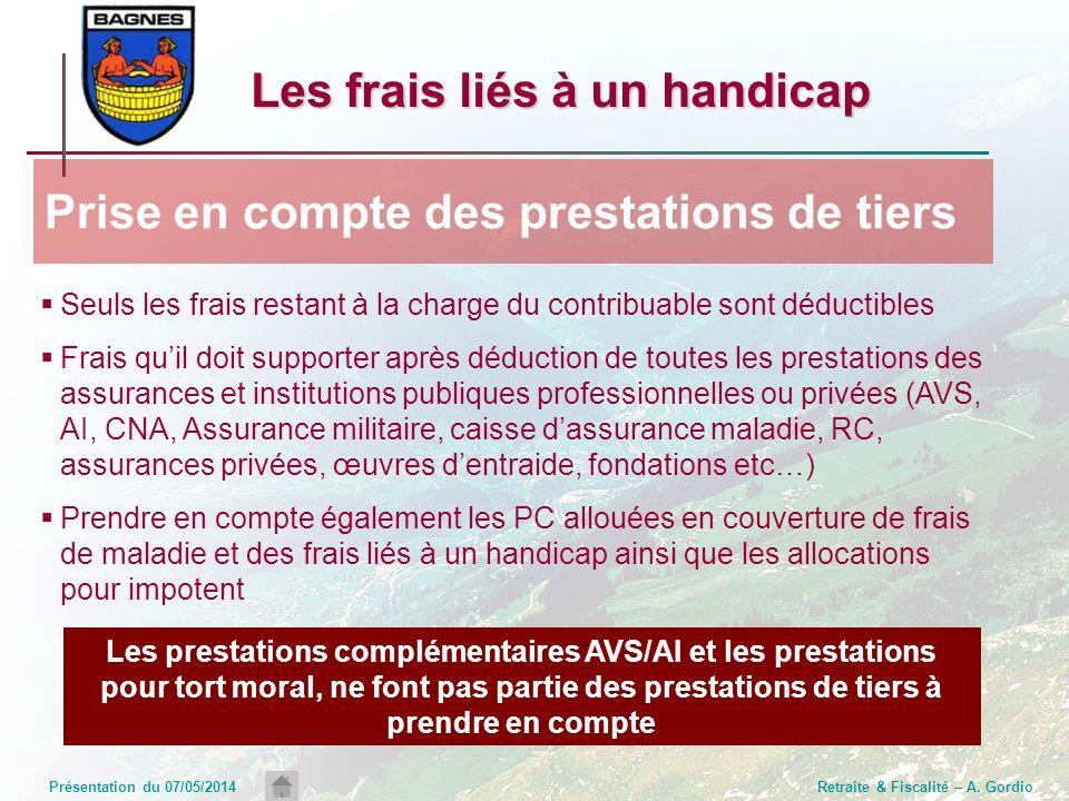 Présentation du 07/05/2014Retraite & Fiscalité – A. Gordio Seuls les frais restant à la charge du contribuable sont déductibles Frais quil doit suppor