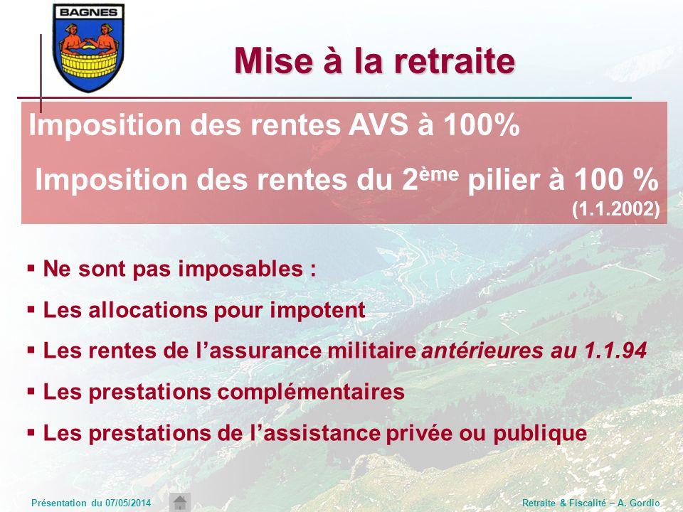 Présentation du 07/05/2014Retraite & Fiscalité – A. Gordio Mise à la retraite Ne sont pas imposables : Les allocations pour impotent Les rentes de las